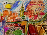 spanische-kunst-kunstler-maler-malerei.merello.colors-of-new-york-54x73-cm-mix-media-on-table-